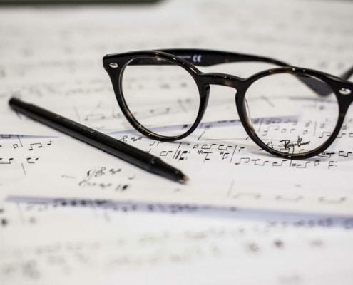 Glasses on Music Paper