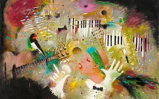 "Olieverfschilderij ""Jazz"" van Tatyana Palchuk"